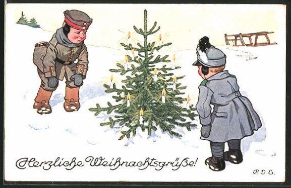 Künstler-AK P. O. Engelhard (P.O.E.): Kinder als Soldaten freuen sich über einen Weihnachtsbaum