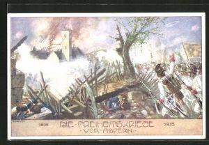 Künstler-AK Ernst Kutzer: Freiheitskriege 1806-1815, Zerstörung vor Aspern