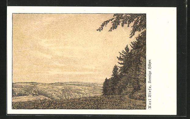 Künstler-AK Carl Biese: Sonnige Höhen, Landschaftspanorama