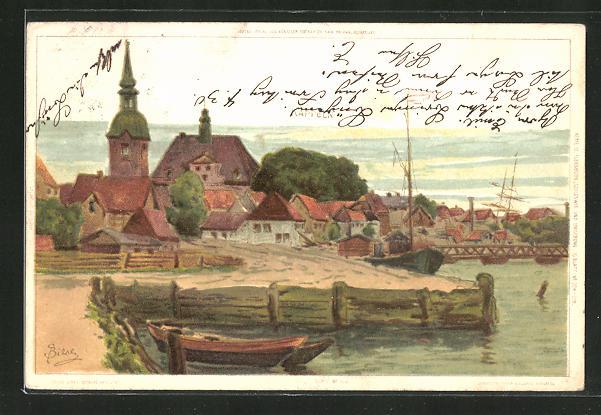Künstler-AK Carl Biese: Kappeln mit Kirche am Flussufer