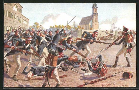 Künstler-AK O. Merte: Erstürmung des Grimmaischen Tores 1813