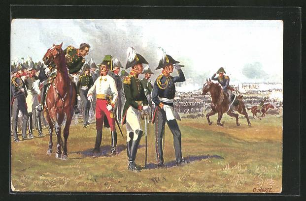 Künstler-AK O. Merte: die drei Fürsten auf dem Monarchenhügel 1813