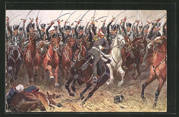 Künstler-AK O. Merte: York an der Spitze der schwarzen Husaren 1813