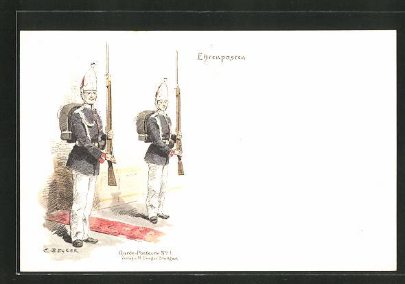 Künstler-AK Carl Becker: Soldaten auf ihrem Ehrenposten