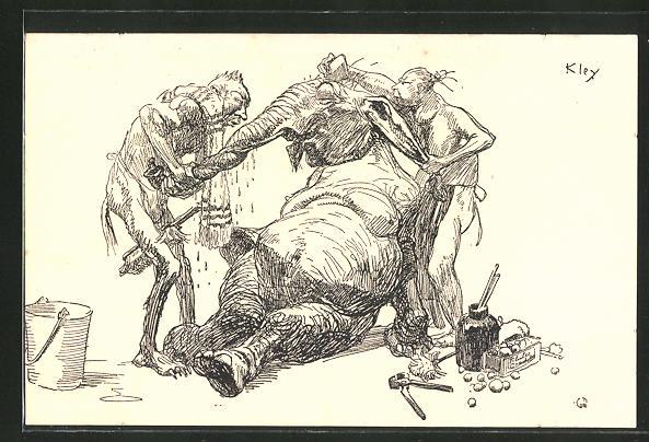 Künstler-AK Simplicissimus: Ursteinmenschen putzen Mammut