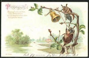 Lithographie Maikäfer mit Glocke auf einem Zweig und Pfingstgruss