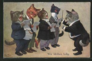 Künstler-AK Arthur Thiele: vermenschlichte Kater singen im Chor
