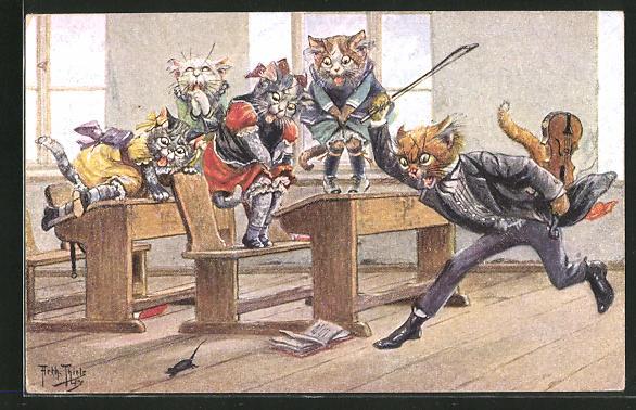 Künstler-AK Arthur Thiele: Mäusejagd in der Katzenschule, vermenschlichte Tiere