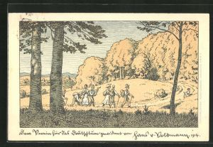 Künstler-AK Hans von Volkmann: Verein für das Deutschtum im Ausland, Musizierende Wandervögel