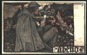 Künstler-AK Rudolf Schiestl: Bauer mit Pfeife bei einer abendlichen Mussestunde
