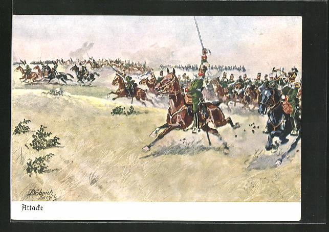 Künstler-AK Döbrich-Steglitz: Kavallerie reitet eine Attacke