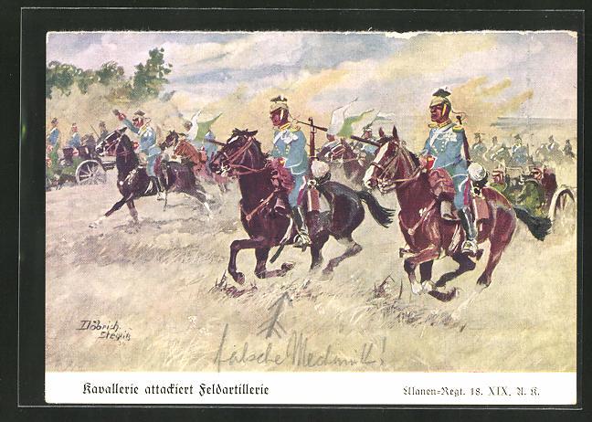 Künstler-AK Döbrich-Steglitz: Kavallerie attackiert Feldartillerie, Ulanen-Regt. 18 XIX. A. K.