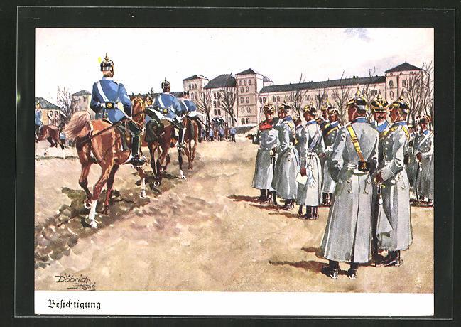 Künstler-AK Döbrich-Steglitz: Offiziere bei der Besichtigung einer Kaserne