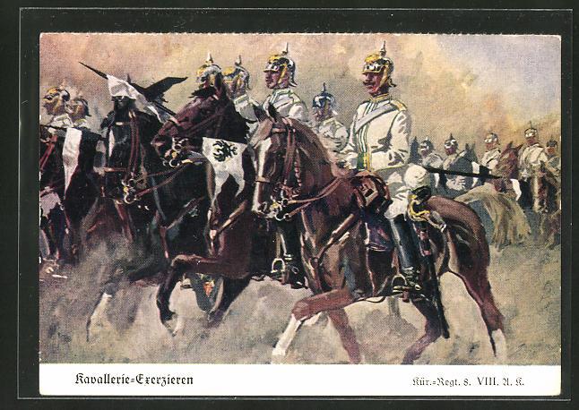 Künstler-AK Döbrich-Steglitz: Kavallerie-Exerzieren, Kür.-Regt. 8 VIII. A. K.
