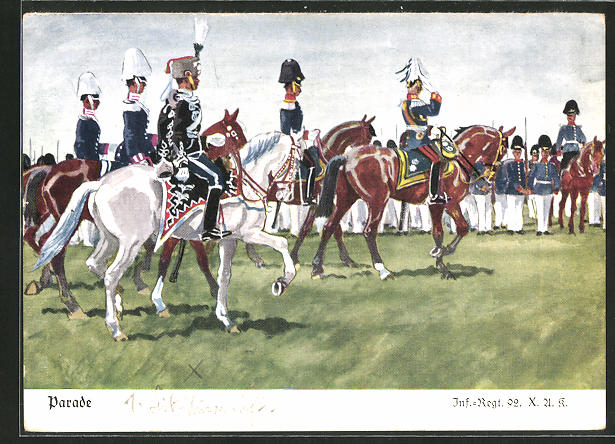 Künstler-AK Döbrich-Steglitz: Inf.-Regt. 92 X. A. K. bei der Parade