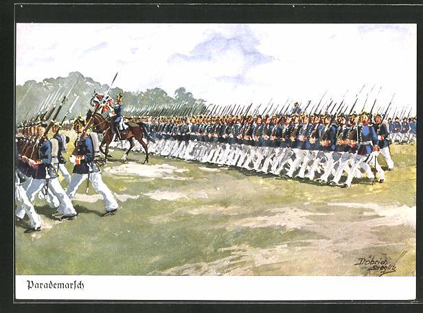 Künstler-AK Döbrich-Steglitz: Infanterie beim Parademarsch