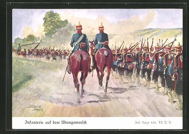 Künstler-AK Döbrich-Steglitz: Infanterie auf dem Übungsmarsch, Inf.-Regt. 156 VI. A. K.