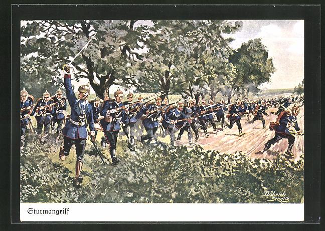 Künstler-AK Döbrich-Steglitz: Infanterie beim Sturmangriff