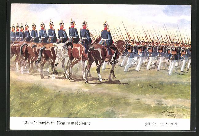 Künstler-AK Döbrich-Steglitz: Parademarsch in Regimentskolonne, Füs. Regt. 37 V. A. K.
