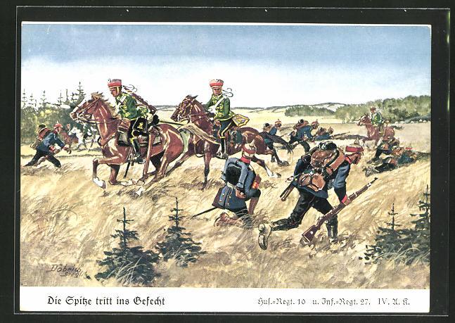 Künstler-AK Döbrich-Steglitz: Spitze tritt ins Gefecht, Hus.-Regt. 10 u. Inf.-Regt. 27 IV. A. K.