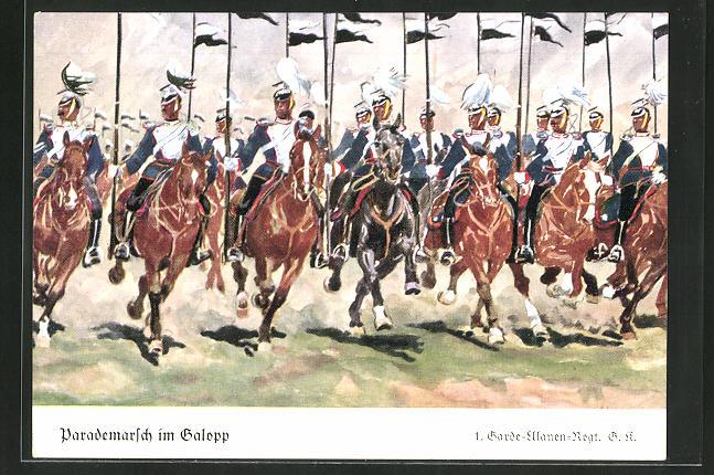 Künstler-AK Döbrich-Steglitz: 1. Garde-Ulanen-Regt. G K. beim Parademarsch im Galopp