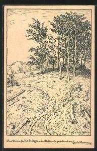 Künstler-AK Hans von Volkmann: gefällte Äste am Wald