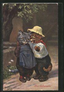Künstler-AK Arthur Thiele: Kater verrät einer Katze sein Geheimnis, vermenschlichte Tiere
