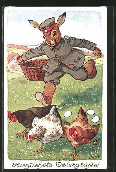 Künstler-AK P. O. Engelhard (P.O.E.): Herzlichste Ostergrüsse!, Osterhase jagt Hühnern hinterher