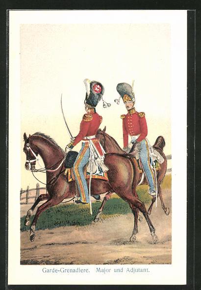 Künstler-AK Garde-Grenadiere, links Offizier, rechts Adjutant