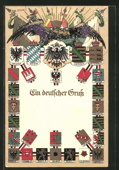 Künstler-AK Bruno Bürger & Ottillie Nr. 8598: Ein deutscher Gruss, Wappen deutscher Adelshäuser und Reichsadler