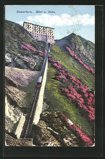 AK Stanserhorn, Hotel und Strecke der Bergbahn