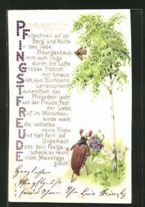 Präge-Lithographie Pfingstfreude, Gedicht und Maikäfer