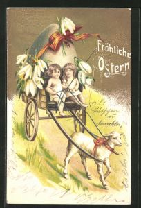 Präge-Lithographie Fröhliche Ostern, Lamm zieht Gespann mit Osterei