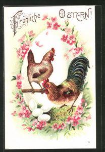 Künstler-AK Fröhliche Ostern!, Hahn, Henne und Eier