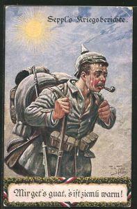 Künstler-AK Arthur Thiele: Seppl's Kriegsberichte, Mir get's guat, 's ist ziemli warm!, Soldatenhumor