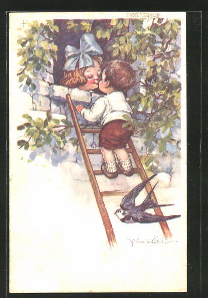Künstler-AK Castelli: kleiner Kavalier auf Leiter am Fenster seiner Liebsten