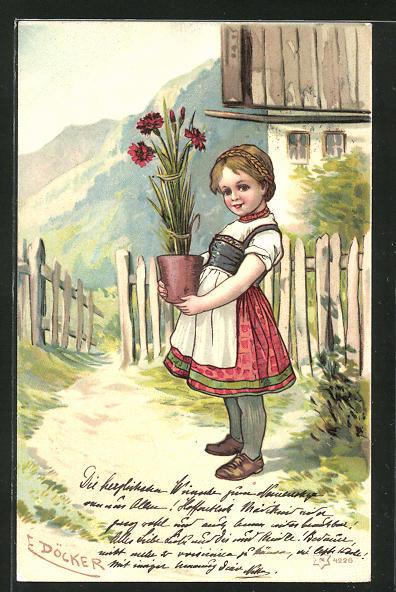 Künstler-Lithographie E. Döcker: Mädchen mit Topfpflanze