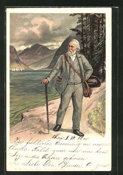 Künstler-Lithographie E. Döcker: Aus unseren Bergen, betagter Spaziergänger