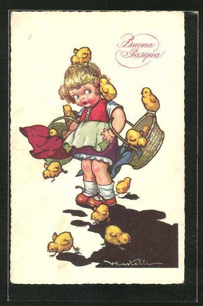 Künstler-AK Castelli: Buona Pasqua, Mädchen mit lustigen Osterküken