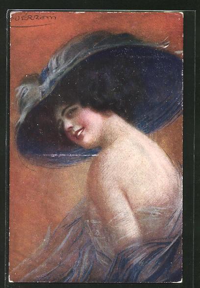 Künstler-AK G. Guerzoni: Dame im schulterfreien Kleid und mit schwarzem Hut blickt über die Schulter