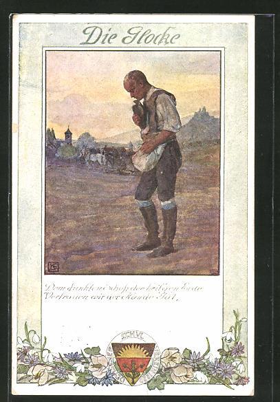 Künstler-AK Karl Friedrich Gsur: Deutscher Schulverein Nr. 198: Die Glocke, Bauer auf dem Feld