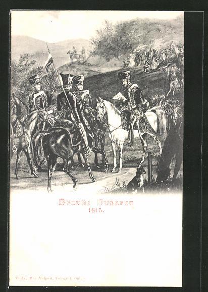 AK Braune Husaren zu Pferde, Befreiungskriege 1815