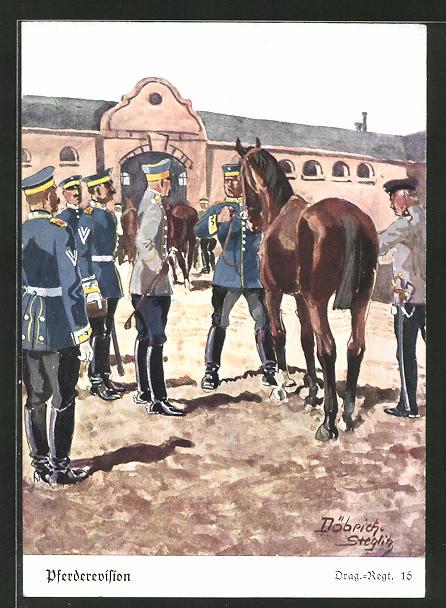 Künstler-AK Döbrich-Steglitz: Pferderevision beim Drag.-Regt. 16