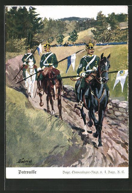 Künstler-AK Döbrich-Steglitz: Patrouille des Bayr. Chevauleger-Regt. 8. I. Bayr. A. K.