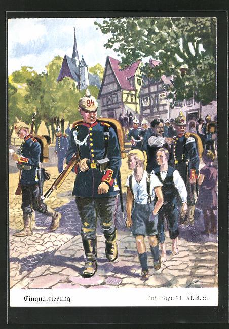Künstler-AK Döbrich-Steglitz: Einquartierung des Inf.-Regt. 94 XI. A. K.