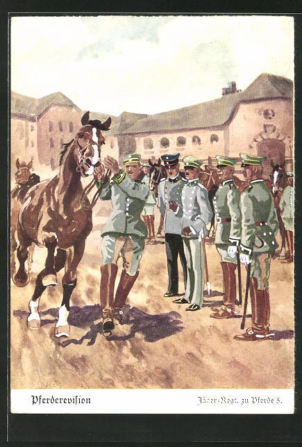 Künstler-AK Döbrich-Steglitz: Pferderevision beim Jäger-Regt. zu Pferde 5.
