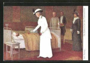 Präge-AK Kaiserin Auguste Victoria Königin von Preussen bei den Verwundeten