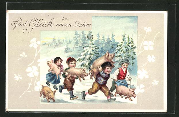 Präge-AK Neujahrsgruss, Kinder mit Schweinchen im Schnee