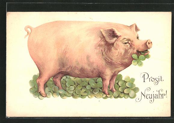 Ak Prosit Neujahr Schwein Mit Vierblättrigem Klee Nr 8162999