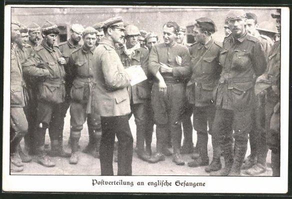 AK Postverteilung an englische Kriegsgefangene